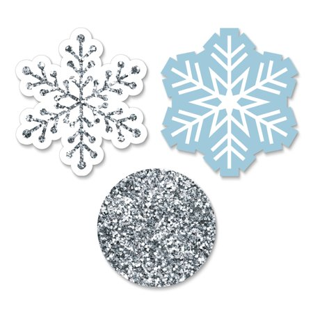 Winter Wonderland - DIY Shaped Snowflake Holiday Party & Winter Wedding Cut-Outs - Set of 24