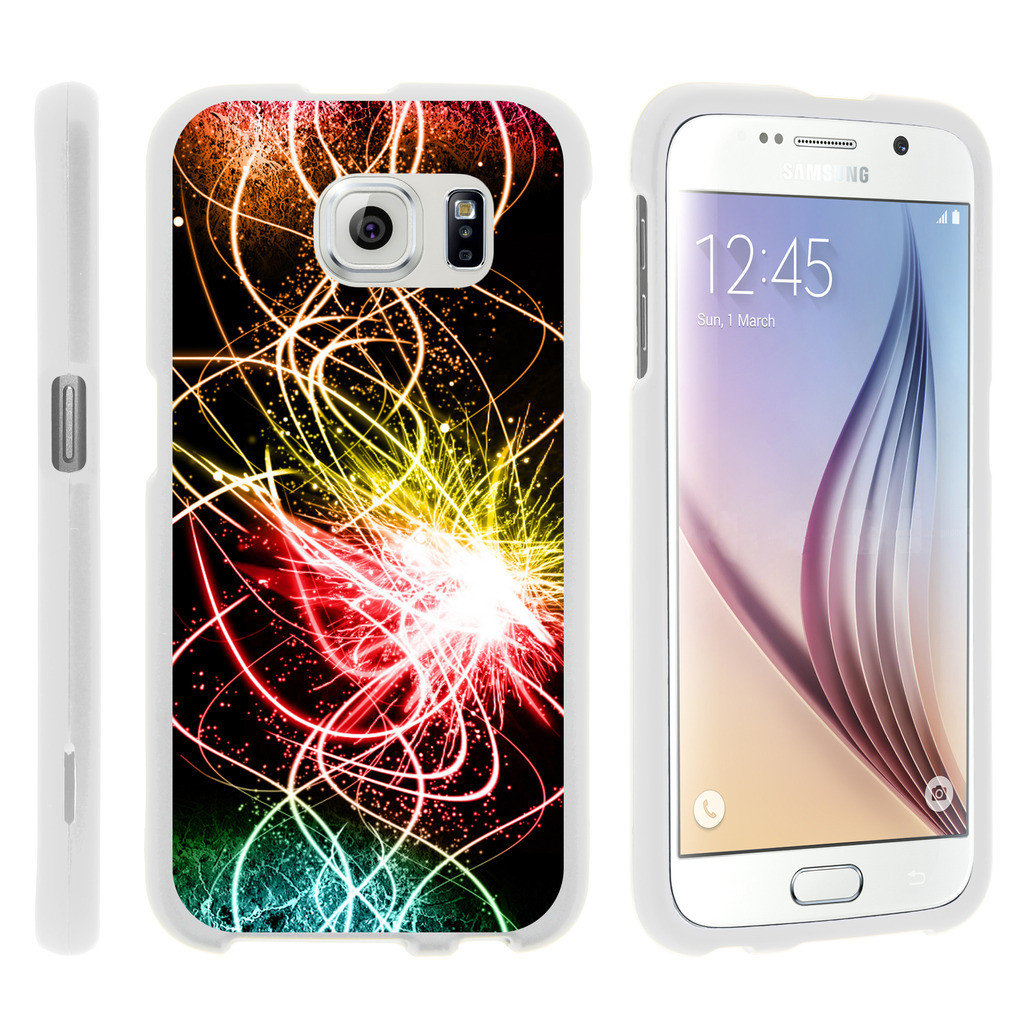 Samsung Galaxy S6 Edge G925, [SNAP SHELL][White] Hard White Plastic Case with Non Slip Matte Coating with Custom Designs - Colorful Light Show