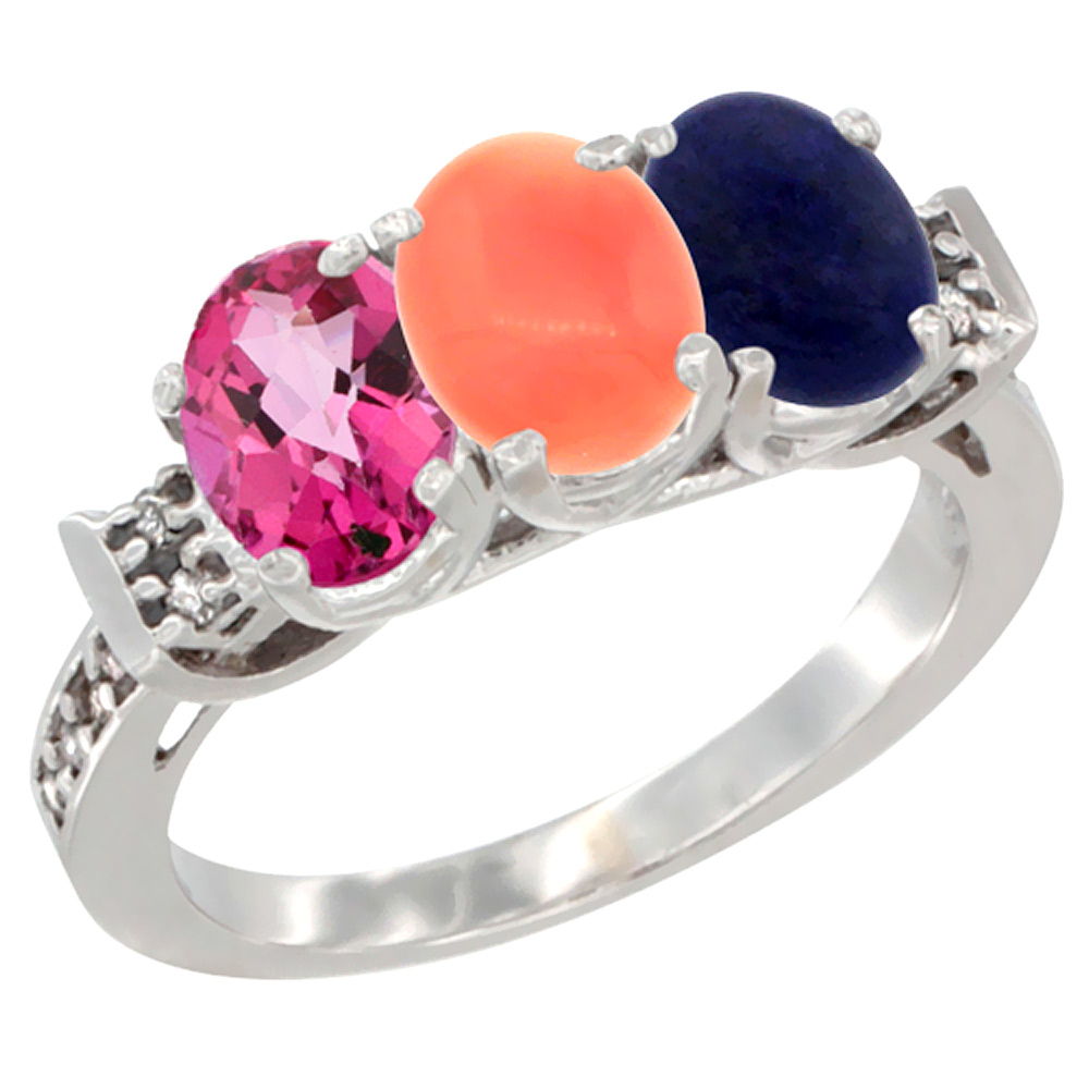 14K White Gold Natural Pink Topaz, Coral & Lapis Ring 3-Stone Oval 7x5 mm Diamond Accent, sizes 5 10 by WorldJewels