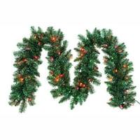 "9' x 12"" Pre-Lit Green Point Pine Artificial Christmas Garland – Multi Lights"