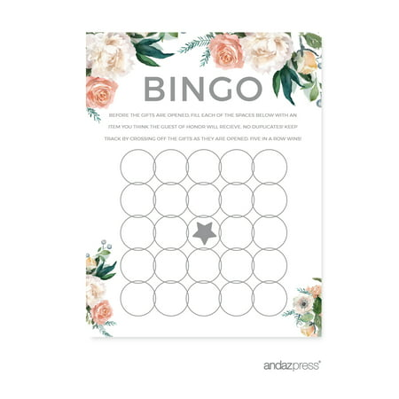 peach coral floral garden party bridal shower bingo game cards 20 pack