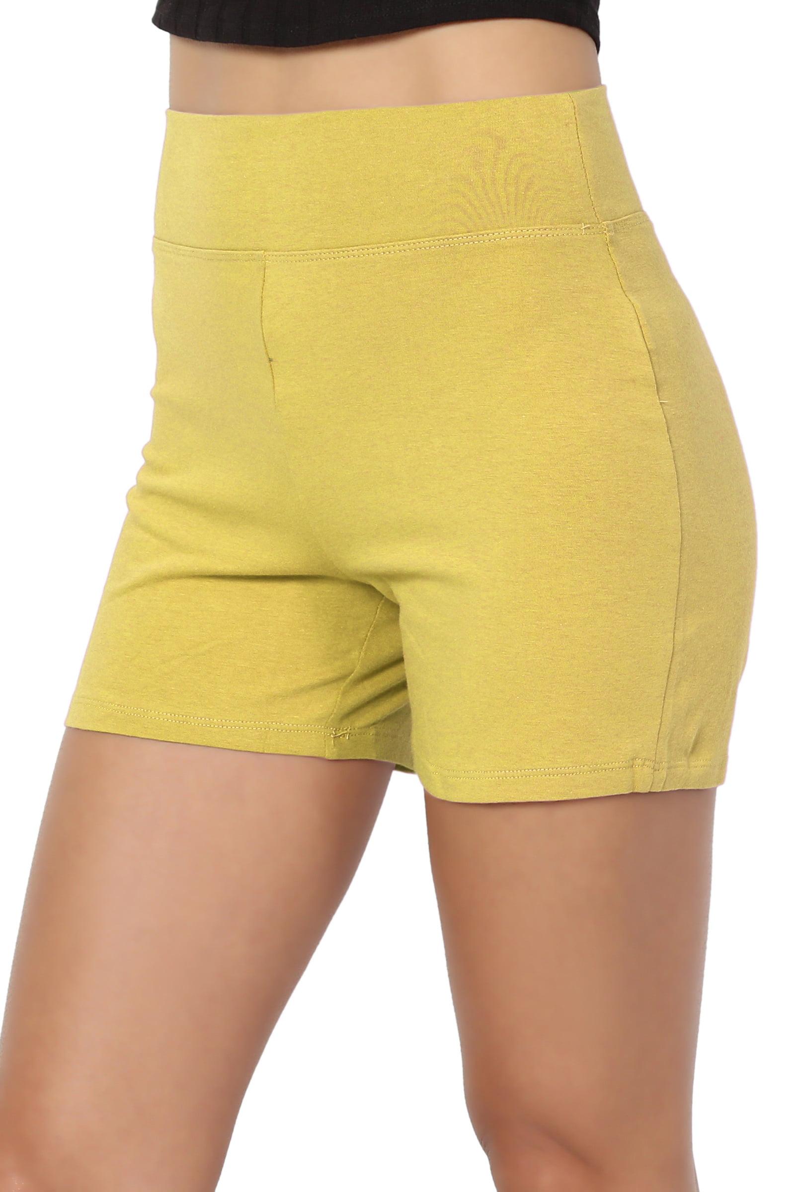 TheMogan Women's S~3XL Cotton Spandex High Waisted Under Short Bike Yoga Leggings