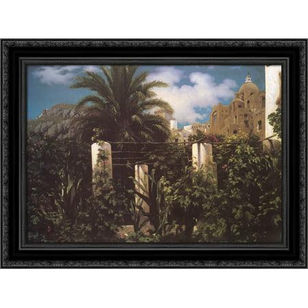 Garden of an Inn, Capri 24x20 Black Ornate Wood Framed Canvas Art by Leighton, Lord Frederick Inn Framed Canvas