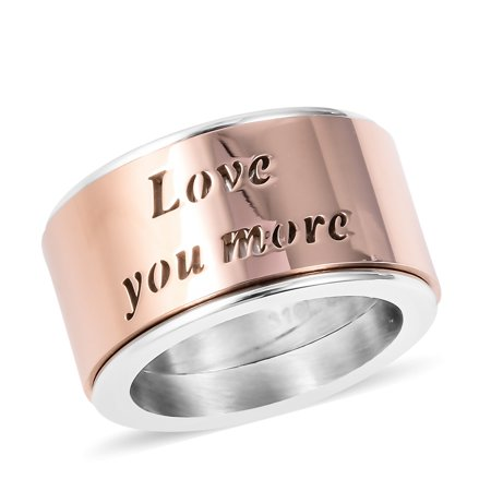 Love You More Spinner Ring Stainless Steel Dual Tone Plated Rose Gold Gift Jewelry for Women (9.5,5.5,6.5,7.5,8.5)