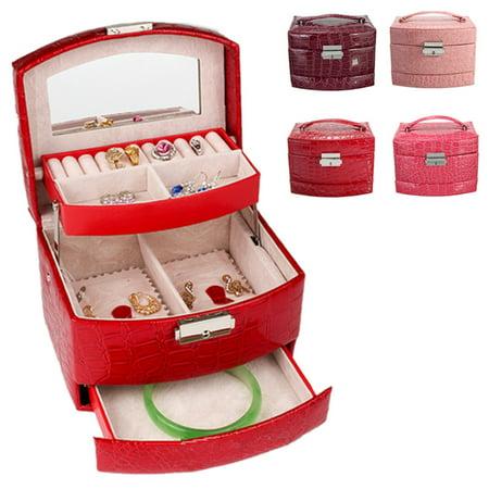 Leather Mini Jewelry Case (Leather Jewelry Box Girls Jewelry Ring Display Organizer Mirrored Mini Travel Case Lockable 3 Layers Storage With Mirror, 6.29