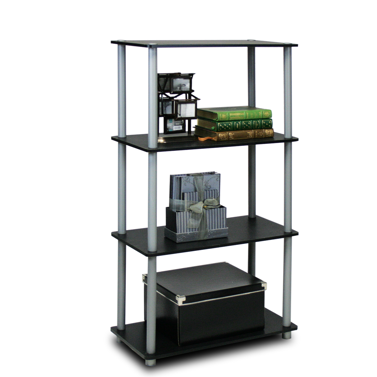 Furinno Turn-N-Tube 3-Tier Compact Multipurpose Shelf Display Rack, 10024WN/BR
