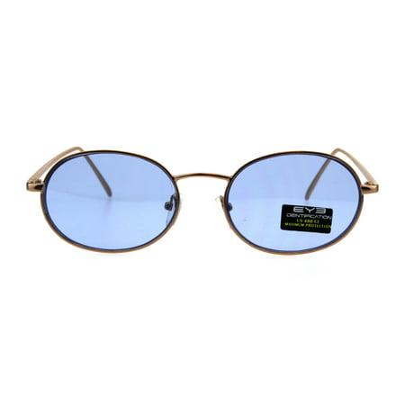 3151c8fce22 SA106 - Pop Color Lens 90s Retro Oval Round Metal Rim Sunglasses Gold Gold  Mirror - Walmart.com