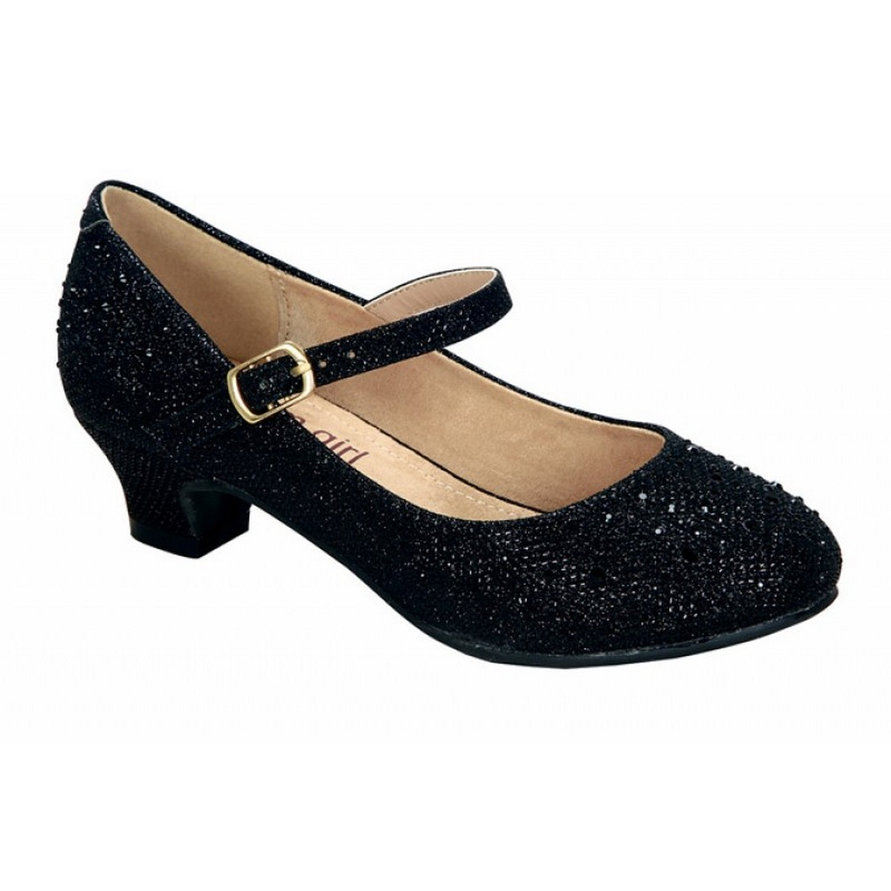 Little Girls Black Sparkle Bejeweled Accent Low Heel Dres...