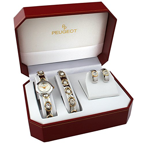 Peugeot Ladies Crystal Encrusted Watch, Pendant, and Earring Gift Set