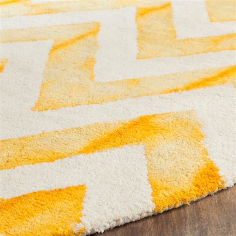 "Safavieh Dip Dye 2'3"" X 6' Hand Tufted Wool Pile Rug in Ivory and Gold - image 4 of 10"