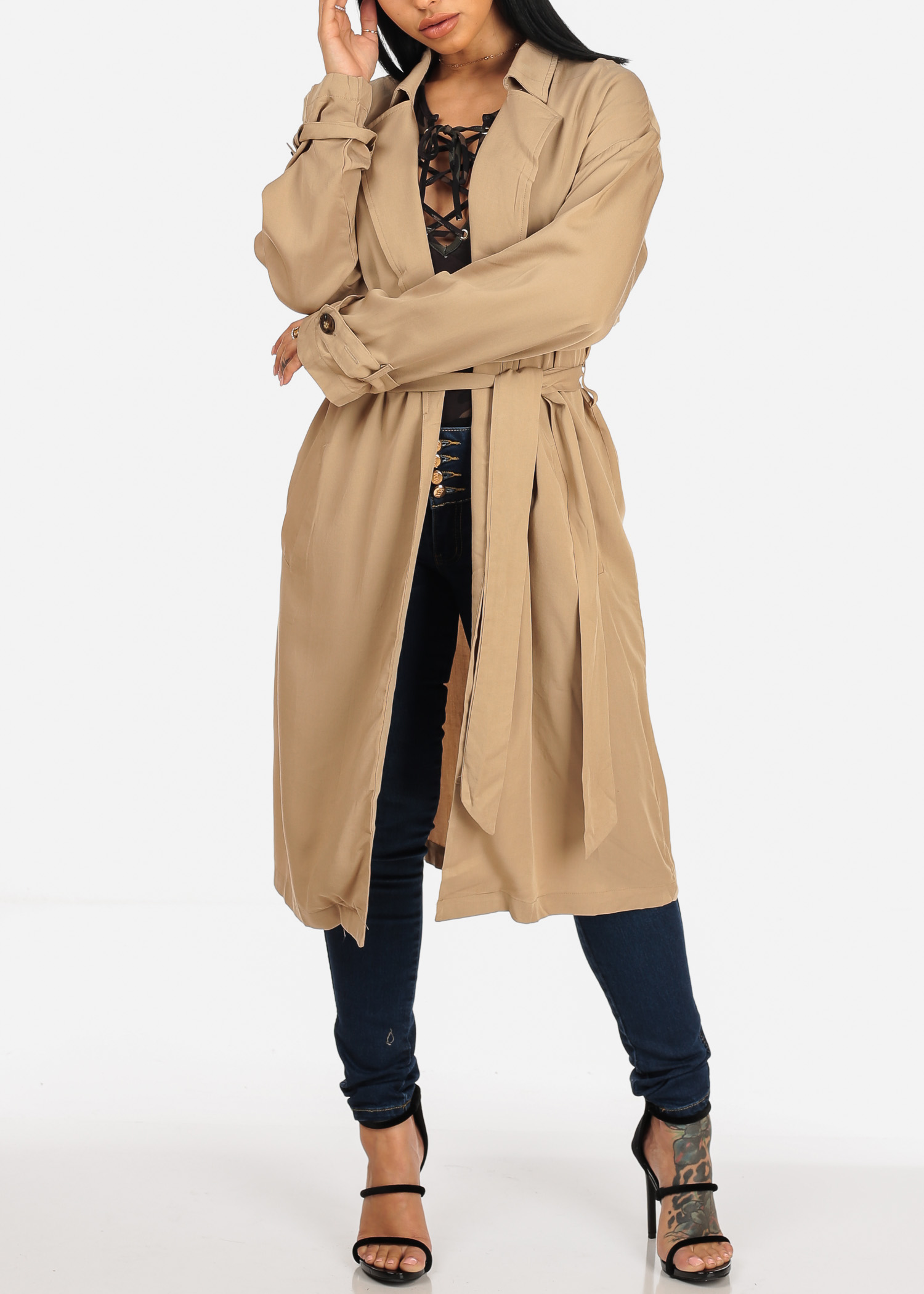 Stylish Lightweight Womens Juniors Solid Taupe Long Sleeve Tie Belt Trench Coat Jacket 40277S