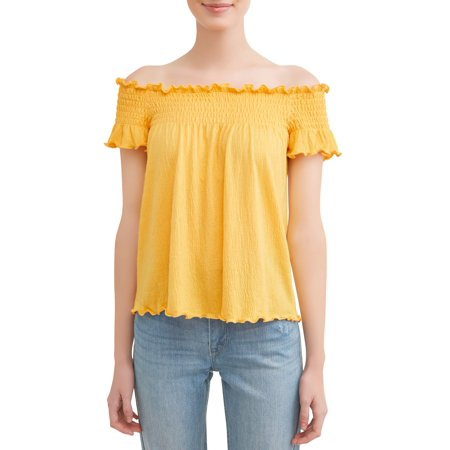 Juniors' Knit Gauze Smocked Off the Shoulder Blouse