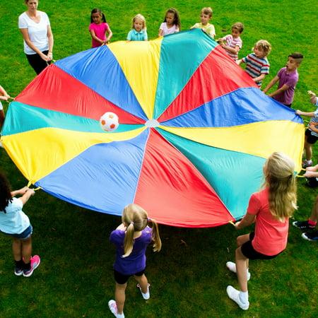 Costway Kids 20 FT Folded Play Parachute 24 Resistant-Handles Game 20' Diameter Play Parachute