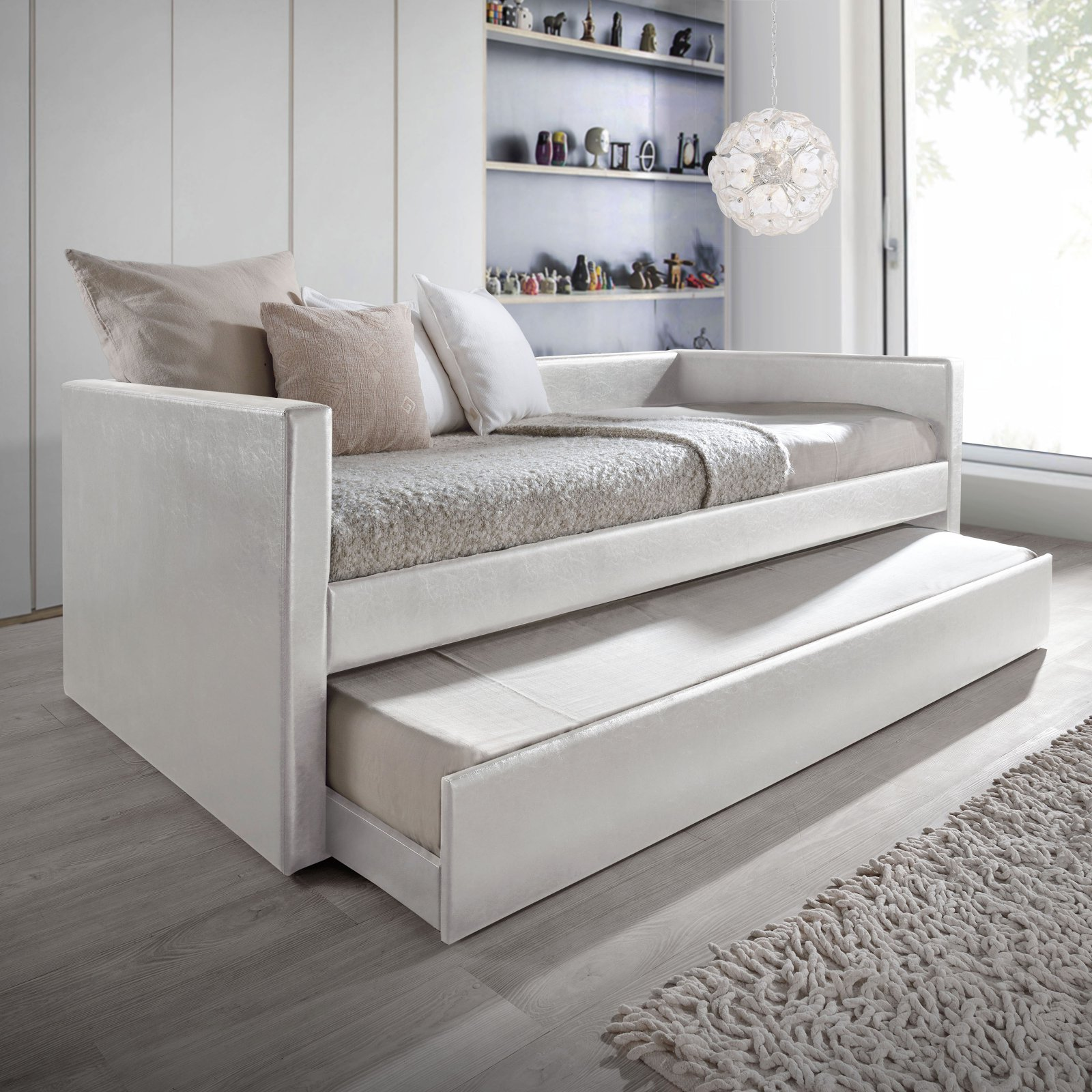 Baxton Studio Risom Modern and Contemporary White Faux Leather Upholstered Twin Size Daybed Bed Frame with Trundle