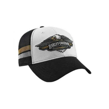 Harley-Davidson Mens Embroidered Vintage Logo Baseball Cap, Black/White BCC28988, Harley Davidson
