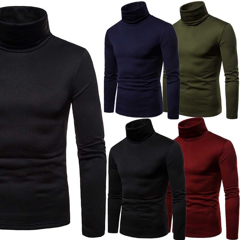 2018 MENS ROLL NECK LONG SLEEVE COTTON TOP POLO & TURTLE NECK BASIC T SHIRTS