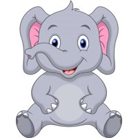 Wallmonkeys Cute Baby Elephant Peel and Stick Wall Decals Mural WM177076 (19 in W x 24 in H)