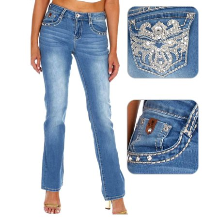 SEXY COUTURE Women's Rhinestone Mid Rise Boot Cut Light Wash Denim - Boot Cut Cords