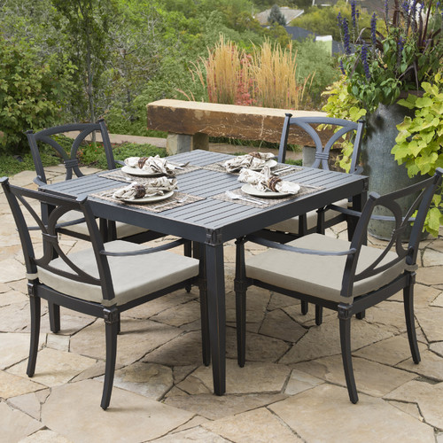 RST Brands Astoria 5 Piece Patio Dining Set with Cushions