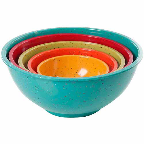 Gibson Home 5-Piece Zesty Fun Mixing Bowl Set, Assorted Colors