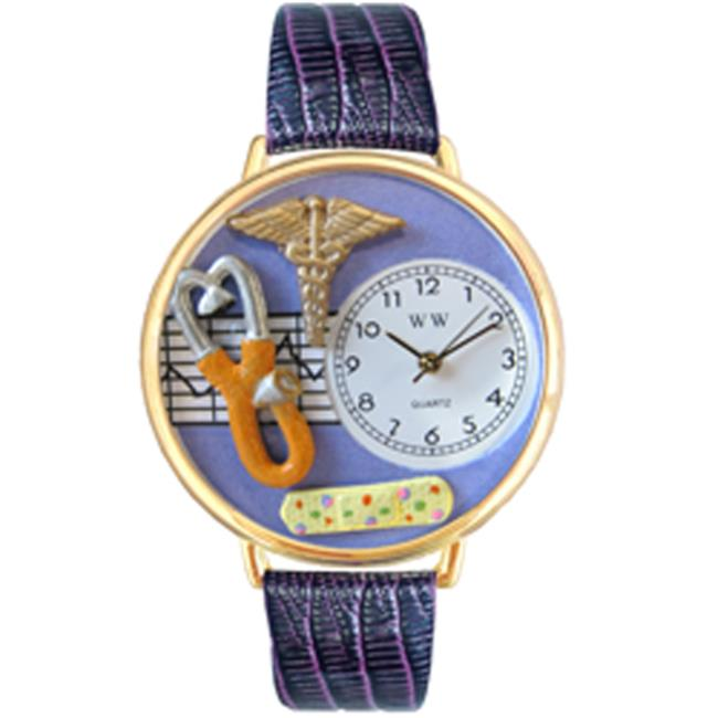 Whimsical Gifts G-0620050 Nurse 2 Purple Watch In Gold Large