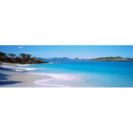 Waves crashing on the beach Turtle Bay Caneel Bay St John US Virgin Islands Stretched Canvas - Panoramic Images (27 x -