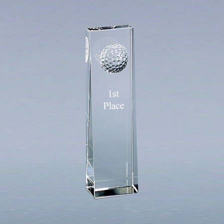 Spinner Trophy Ball (Personalized Glass Optic Monolith Golf Ball Trophy )