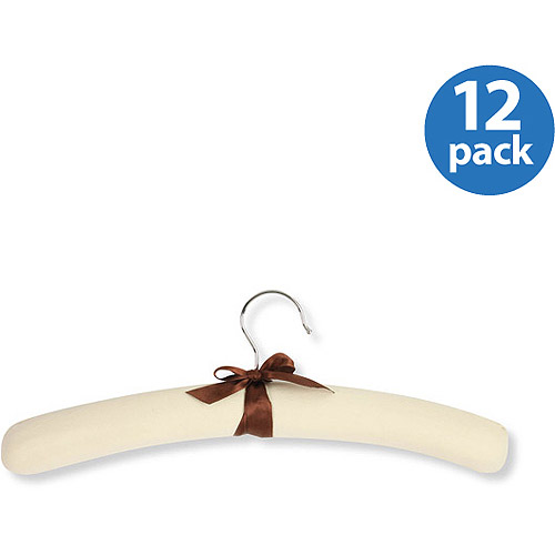 Honey Can Do Canvas Padded Hangers, Natural/Brown (Pack of 12)