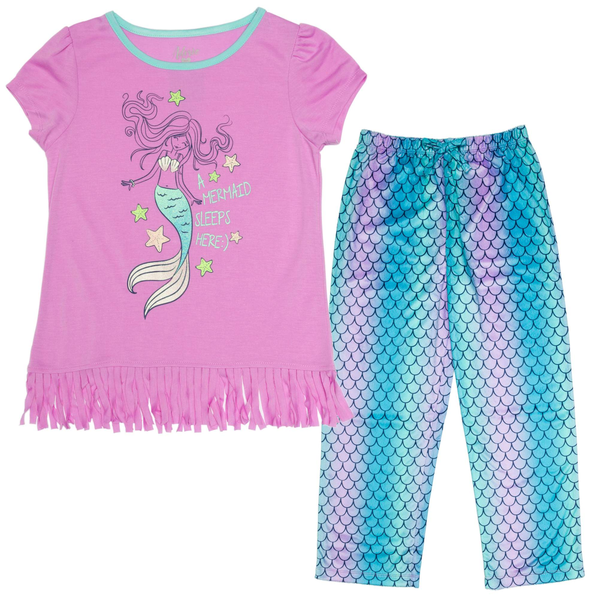Image of Girl's Mermaid 2 Piece Sleep Pant Set with Fringe Graphic Tee
