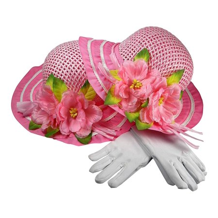 Girls Tea Party Dress Up Play Set For Two With Sun Hats and White Gloves - Both Pink](Tea Party Hats And Gloves)