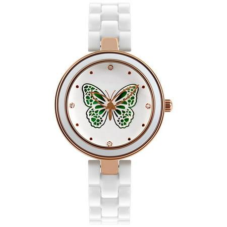 Ceramic Band Quartz Women Water Resistant Fashion Dress Rhinestone Ladies Wrist Watch