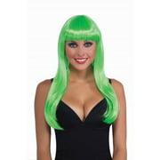 Neon Green Long Adult Halloween Costume Accessory Wig