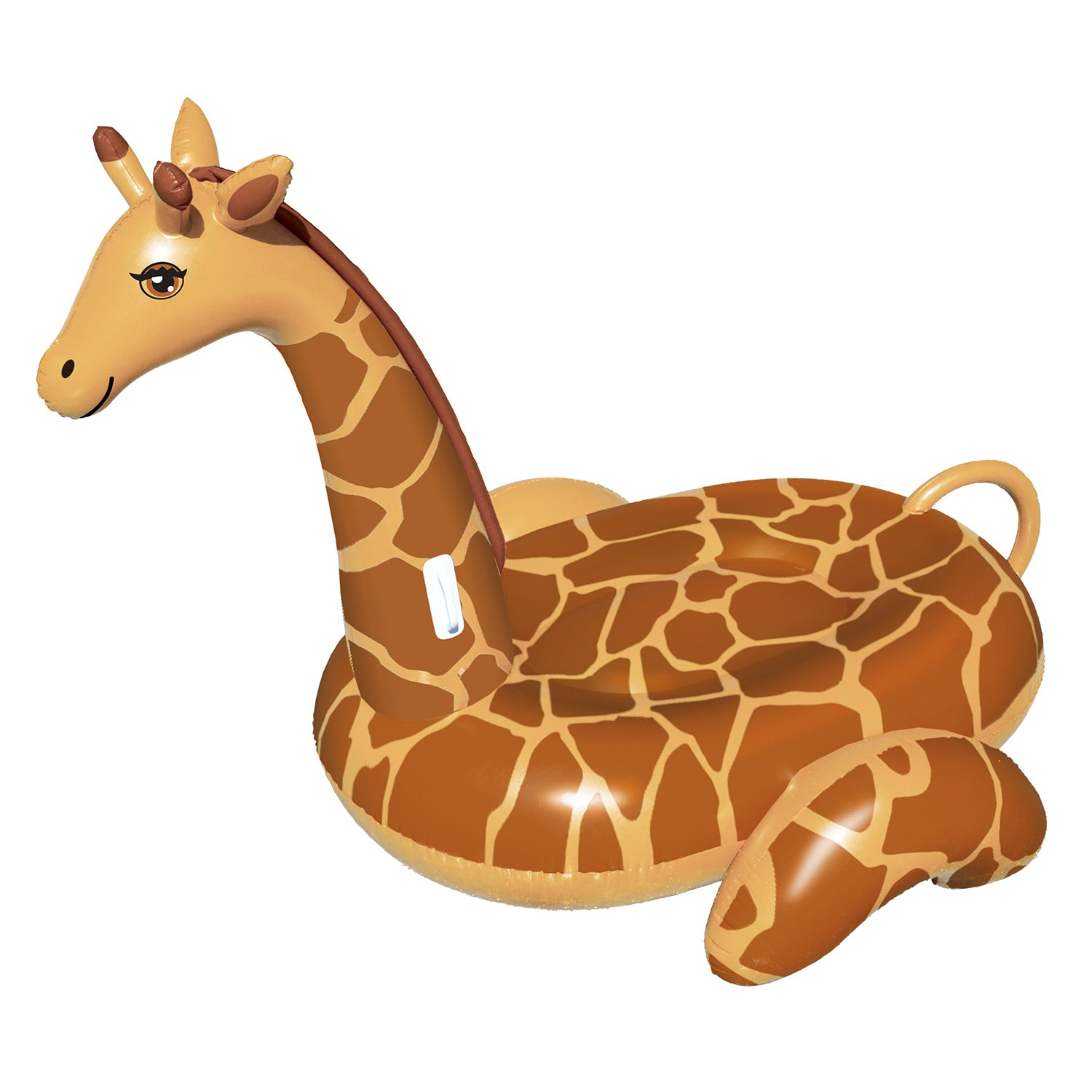Click here to buy Giant Giraffe 96-in Inflatable Ride-On Pool Toy by Swimline.