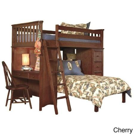 Classic Twin Loft Platform Bed Set With Built In Chest Desk Bookshelf