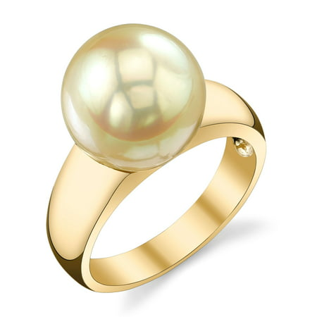 10mm Golden South Sea Cultured Pearl Abigail Ring in 14K Gold