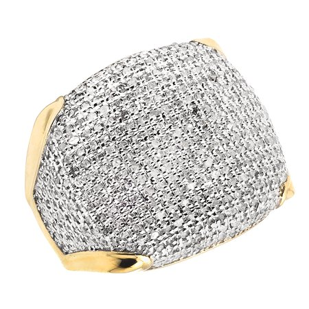 Men's 10K Yellow Gold Pave Iced Real Diamonds Ring 1.50 ct Engagement Pinky Ring