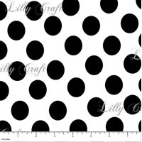 "1"" Black Dots on White Poly Cotton Fabric - Sold By The Yard - 58"" / 59"""