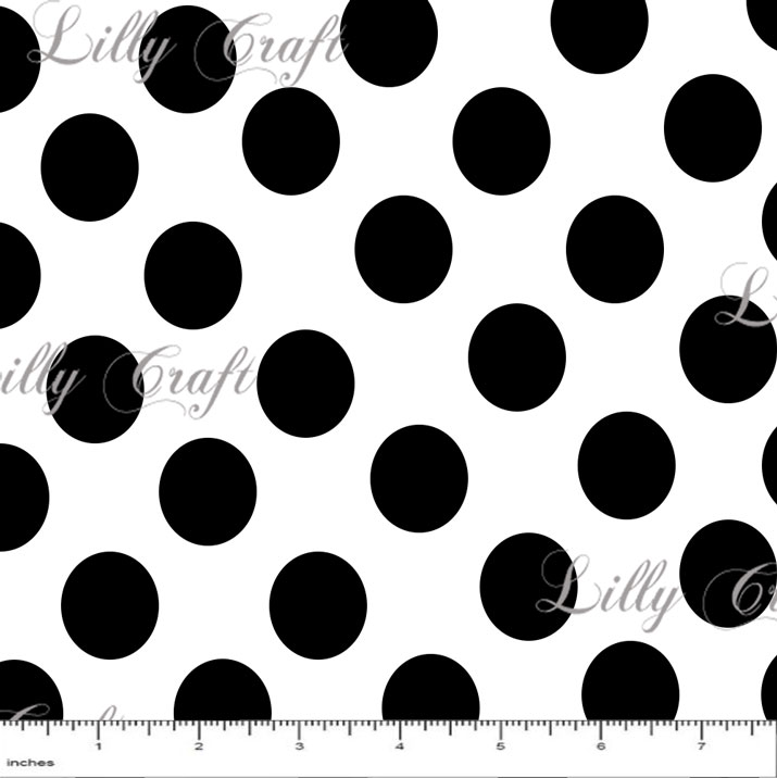 """1"""" Black Dots on White Poly Cotton Fabric - Sold By The Yard - 58"""" / 59"""""""