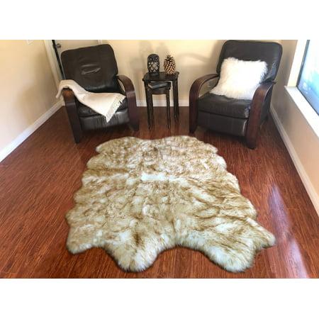 LAMBZY Genuine Sheepskin, Two Tone White/Brown Quarto 4 Pelts 3'6