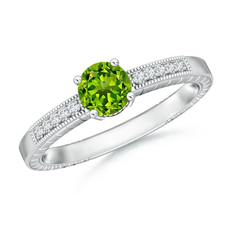August Birthstone Ring - Round Peridot Solitaire Ring with Milgrain in Platinum (6mm Peridot) - SR0668PD-PT-AAAA-6-9
