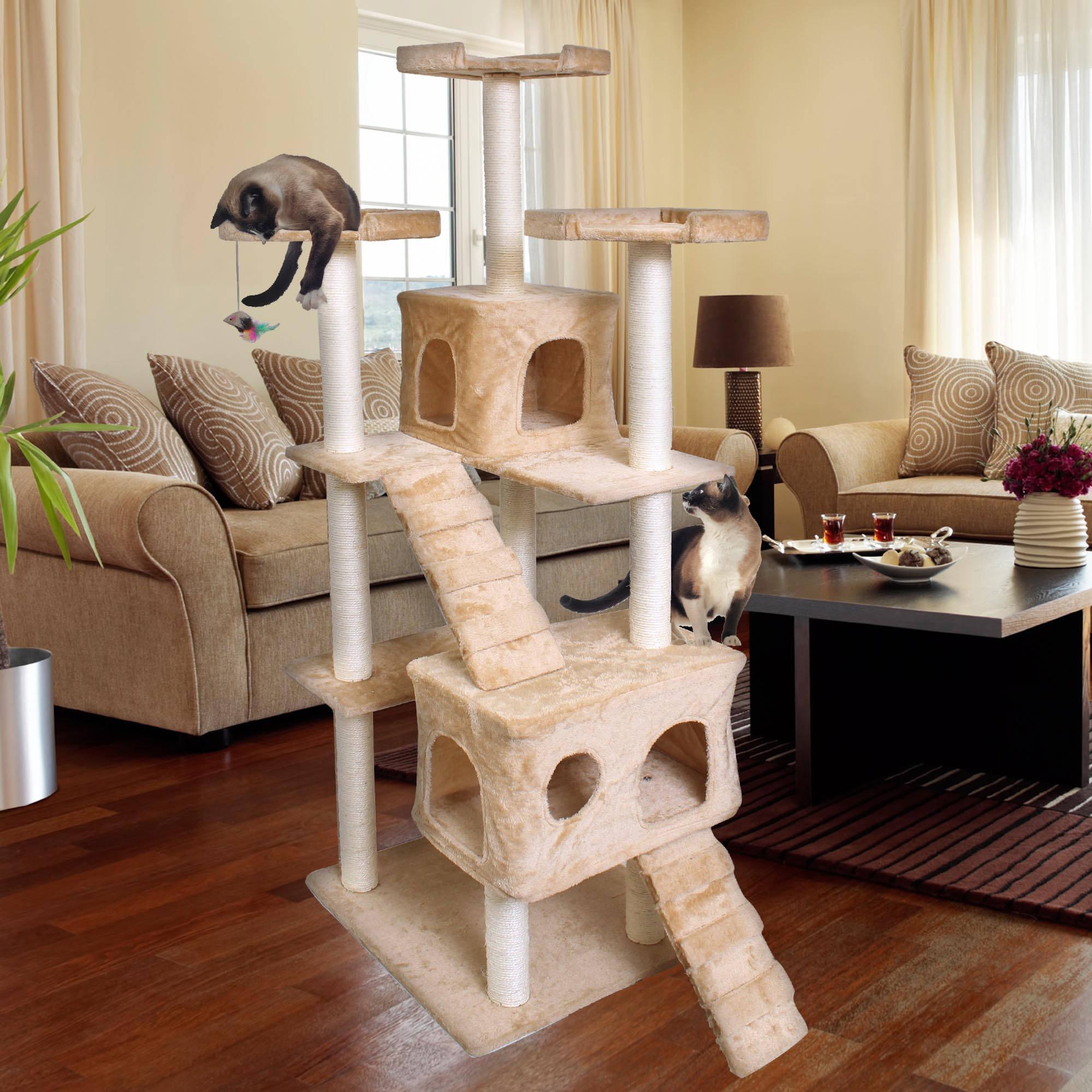 """Premium Cat Tree Tower Condo Scratch Furniture, 72"""", Tan"""