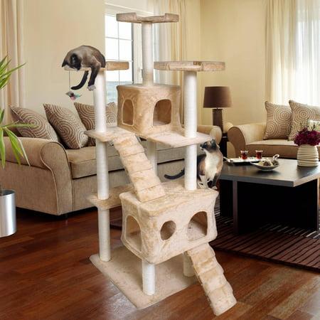 Premium Cat Tree Tower Condo Scratch Furniture 72 Tan