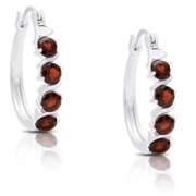 Dolce Giavonna  Sterling Silver Garnet Leverback Hoop Earrings