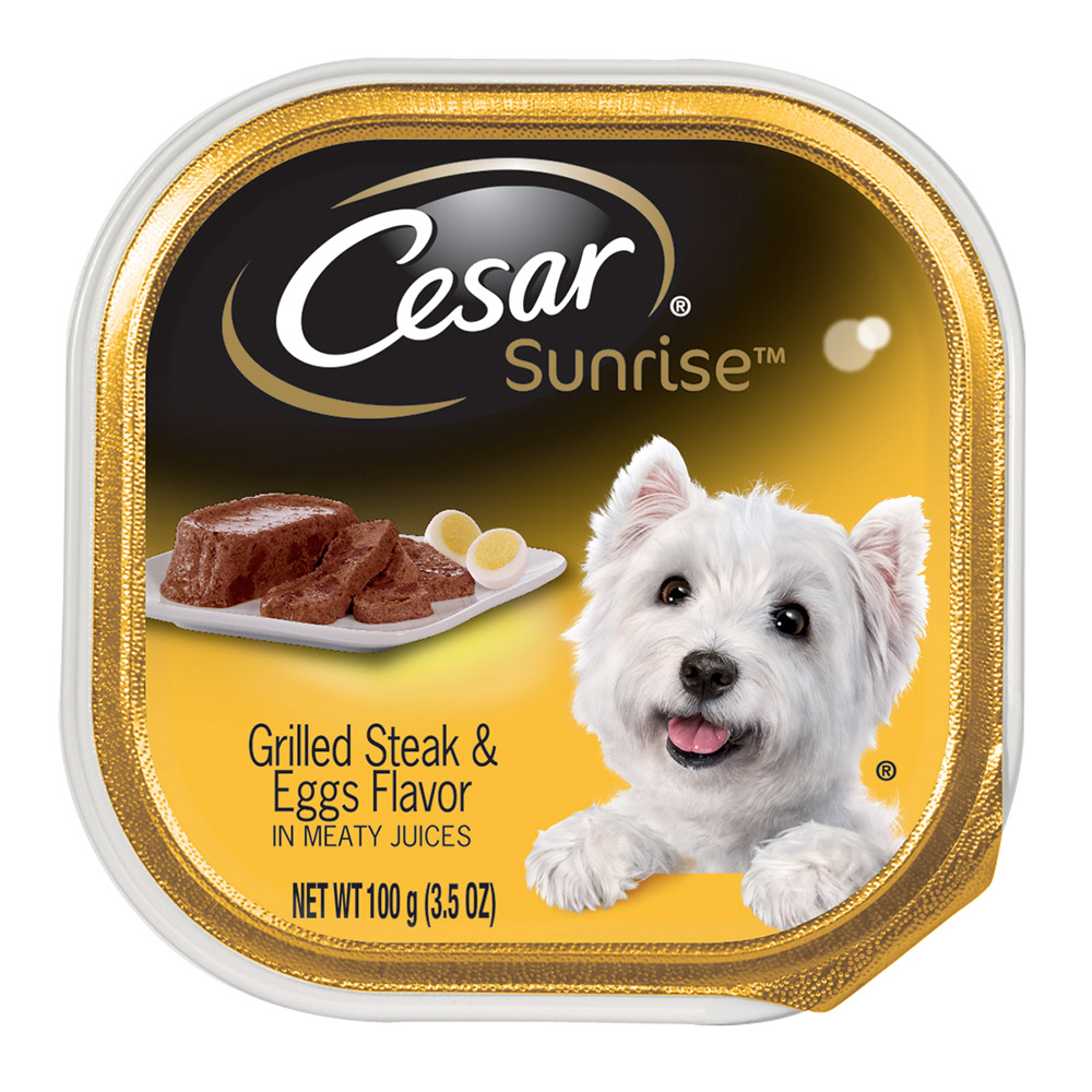 CESAR SUNRISE Grilled Steak and Eggs Flavor Breakfast Dog Food Trays 3.5 oz. by Mars Petcare