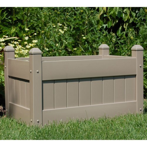 Dura-Trel Mocha Rectangle Vinyl Camelot Planter Box