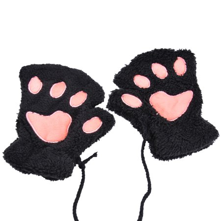 Winter Gloves  Coxeer Lovely Cat Claw Bear Paw Plush Gloves Mitt For Women Girls  Black
