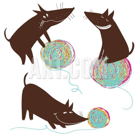 Funny Cartoon Dog Playing with a Colorful Ball Print Wall Art By - Cartoon Dogs Print