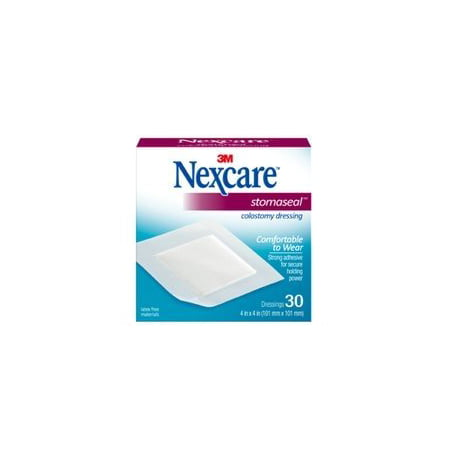 Box Of 30 3M Nexcare Stomaseal Colostomy Dressing - Box Of 30 NexcareTM StomasealTM Colostomy Dressing is a time-saving application for the regulated colostomate, featuring pad and adhesive in one easy-to-apply dressing. The adhesive sticks tightly and securely, while the pad absorbs 6 times its own weight in bodily fluids. Nexcare Stomaseal Colostomy Dressing also holds back fluid pressure and resists fluid penetration, to protect clothing and provide a greater sense of security. Nexcare Stomaseal Colostomy Dressing has a hypoallergenic adhesive and is made with latex free materials, and is also ideal for mucous fistulas and draining lesions. Colostomy dressing with adhesive border to comfortably secure and hold the stoma tube in place. Applications -Caregivers, Post-Surgical / Sutures / Stitches, Hard-to-Cover Areas Properties -Latex Free, Absorbent Use For -Regulated colostomate, mucous fistulas and draining lesions Benefits: The ideal tape-supported absorbent pad for use by the regulated colostomate Comfortable to wear Strong adhesive for secure holding power Made in U.S.A. Pad absorbs 6 times its own weight of body fluid Protects clothing - tape resists fluid penetration Sticks tightly, but removes easily Useful in treatment of mucous fistulas and draining lesions