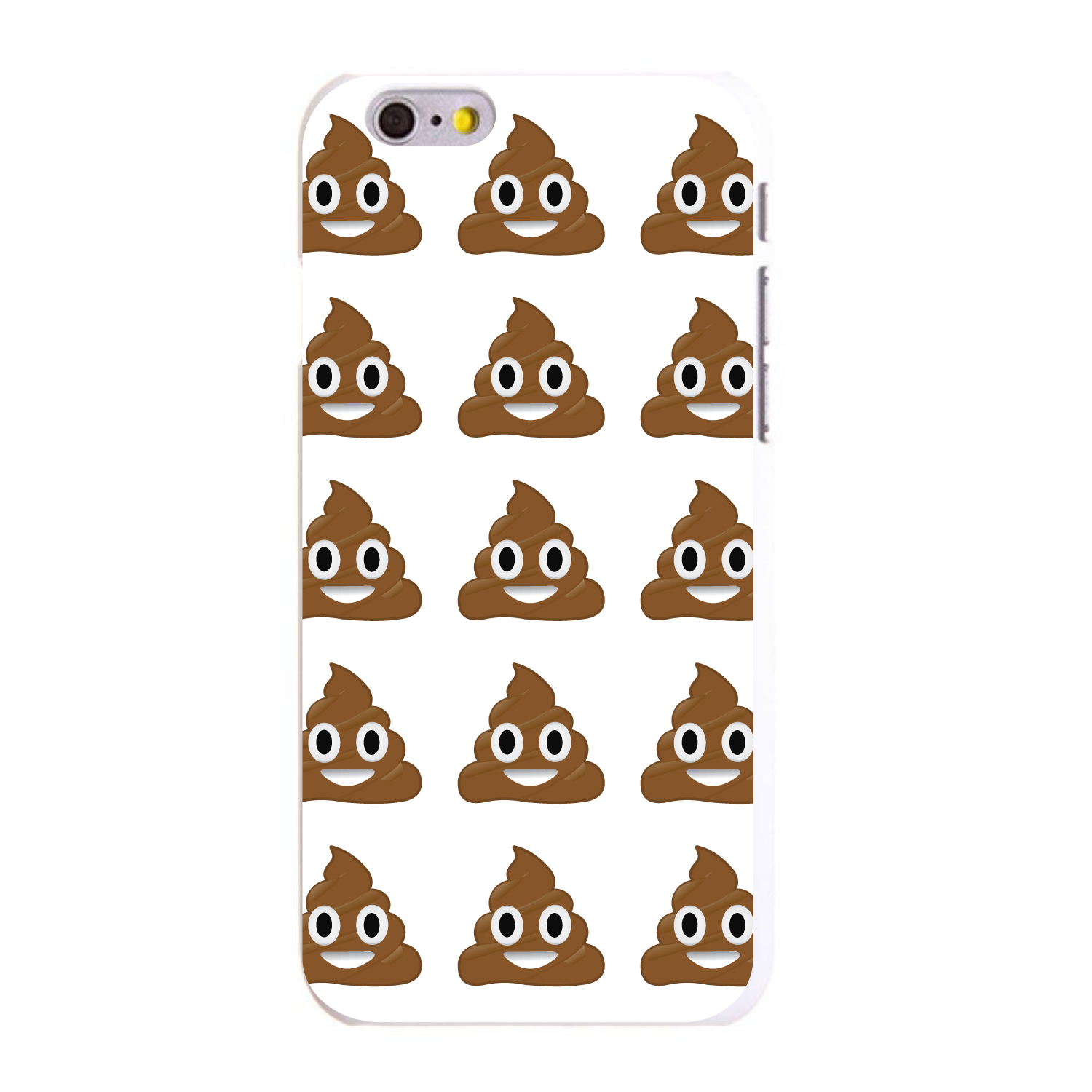 "CUSTOM White Hard Plastic Snap-On Case for Apple iPhone 6 / 6S (4.7"" Screen) - Poop Emoji Pattern"