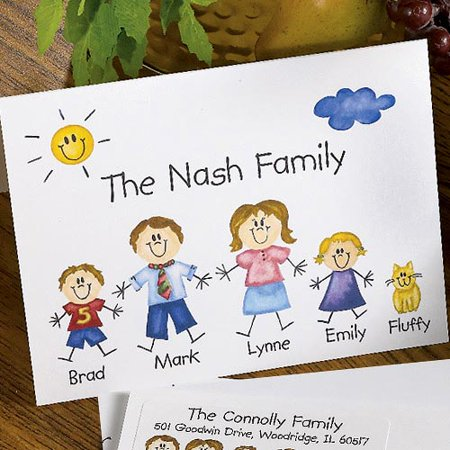 Name Personalized Note Card Stationery - Personalized Family of Characters Note Cards and Envelopes